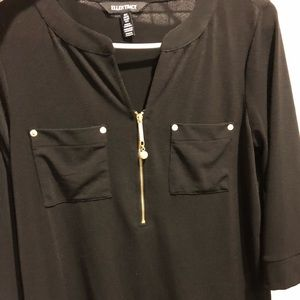 Black with gold chain blouse